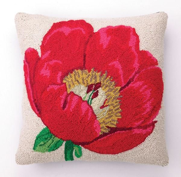 Red Poppy Hooked Pillow 18X18