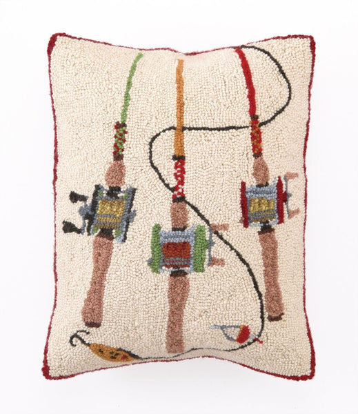 "Peking Handicraft Fishing Rods Hook Pillow 14X18"" 30TA142C18OB 