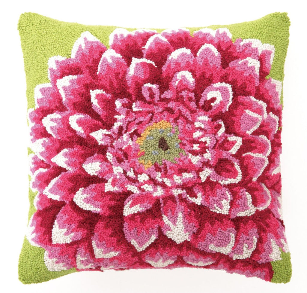 Throw Pillows - Peking Handicraft 30TA2009C18SQ Pink Dahlia Hook Pillow 18X18"