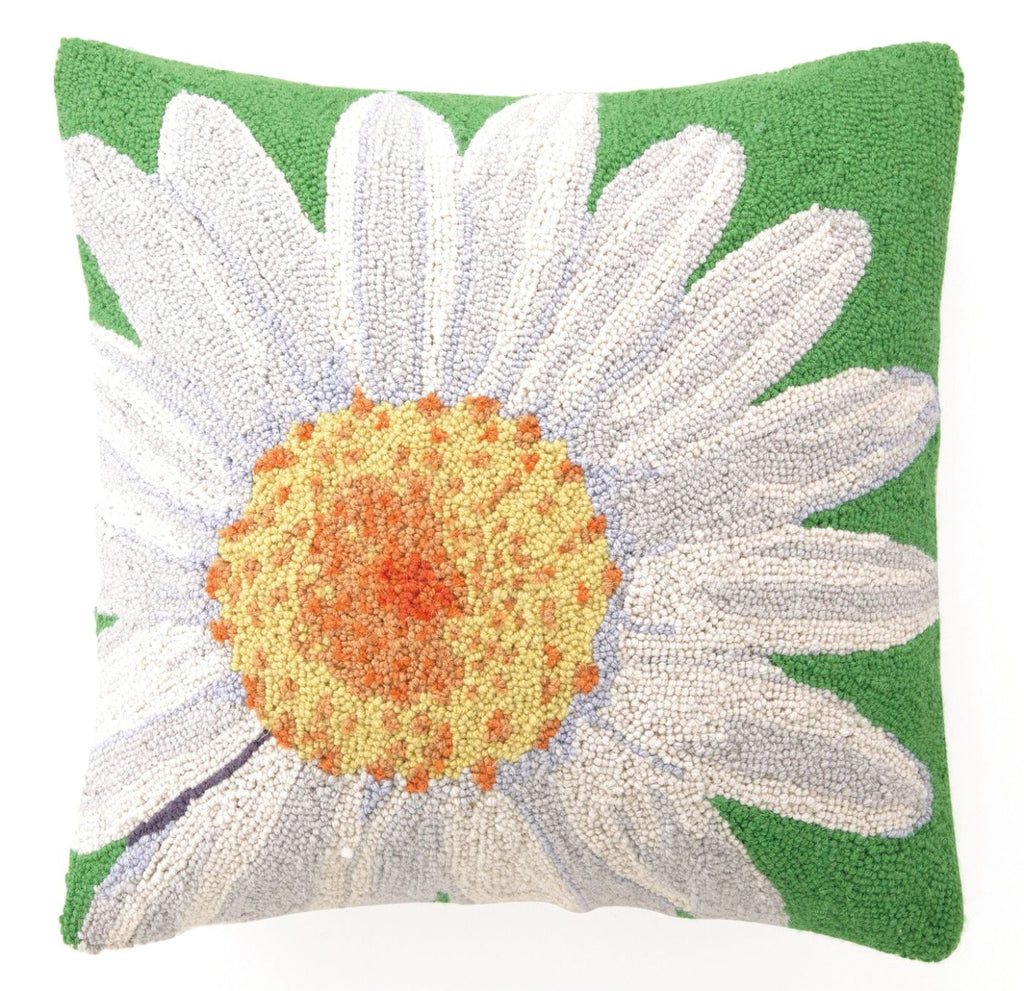 White Daisy Hook Pillow 18X18