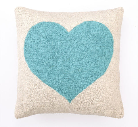 Light Blue Heart Pillow 18X18
