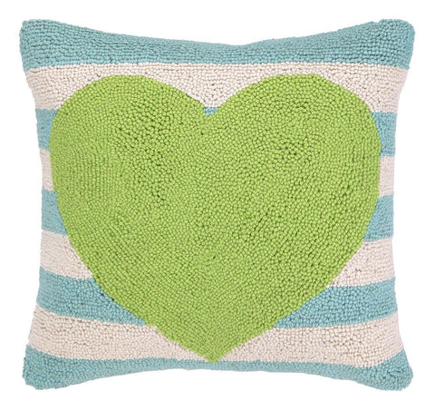 Green Heart Blue Striped Pillow