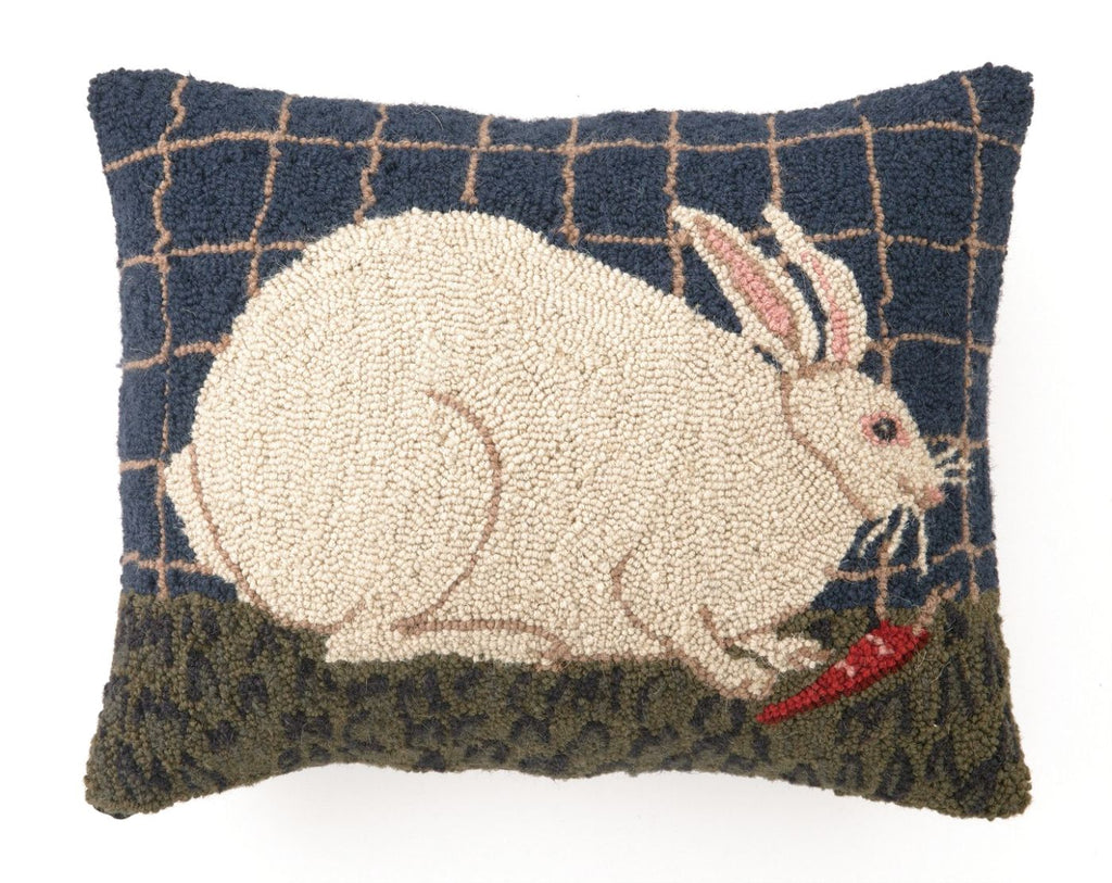 White Bunny Hook Pillow 14X18