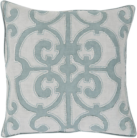 Throw Pillows - Surya AL003-1818D Amelia Throw Pillow Blue, Gray | 764262211177 | Only $97.80. Buy today at http://www.contemporaryfurniturewarehouse.com