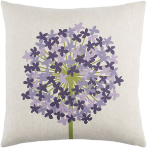 Throw Pillows - Surya AP004-1818D Agapanthus Throw Pillow Green, Purple | 888473532279 | Only $43.80. Buy today at http://www.contemporaryfurniturewarehouse.com
