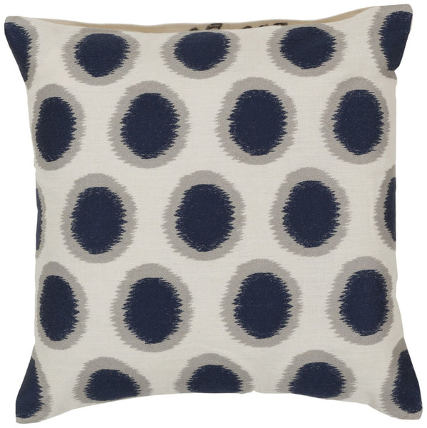 Ikat Dots Throw Pillow Neutral Blue