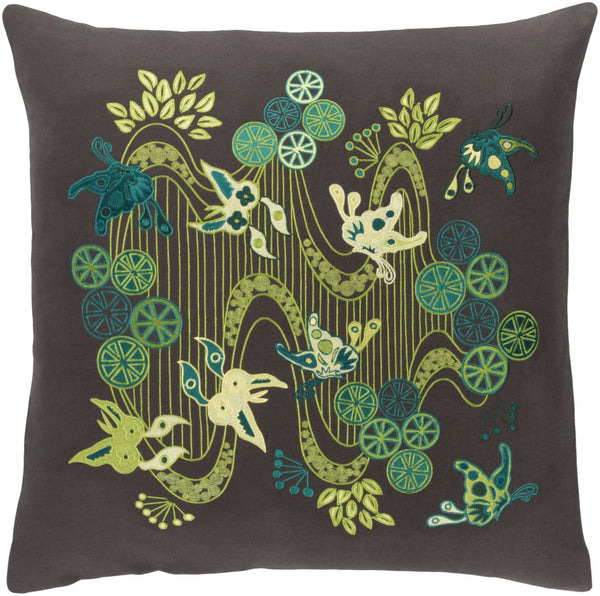 Chinese River Throw Pillow Black Green