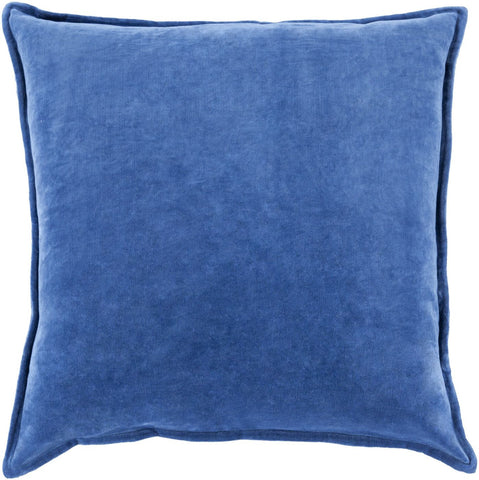 Cotton Velvet Throw Pillow Blue