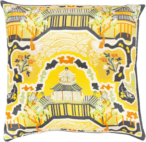 Geisha Throw Pillow Yellow Black
