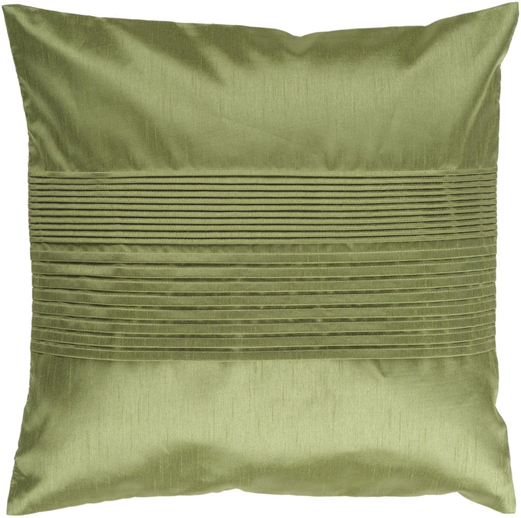 Solid Pleated Throw Pillow Green