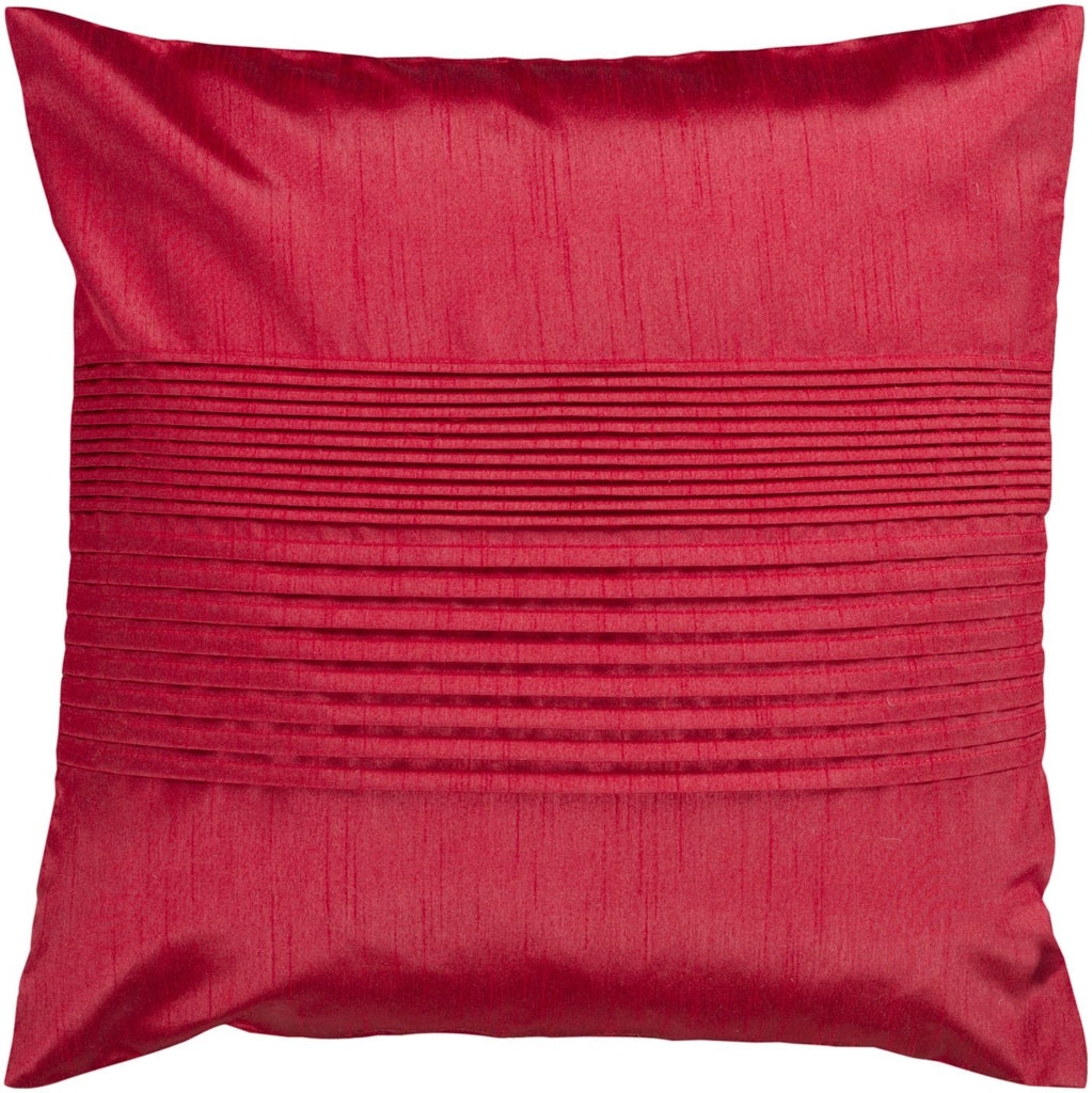 Solid Pleated Throw Pillow Red