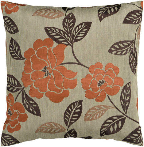 Blossom Throw Pillow Brown Orange