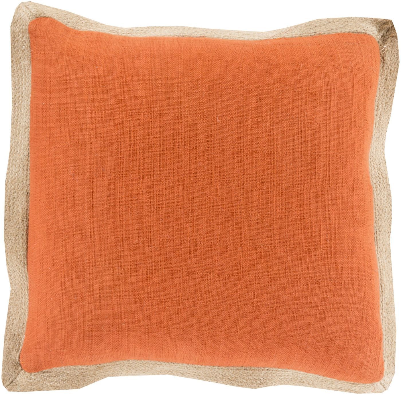 Brown Orange Throw Pillow : Surya Jute Flange Throw Pillow Orange, Brown JF004-2222D. Only USD61.80 at Contemporary Furniture ...