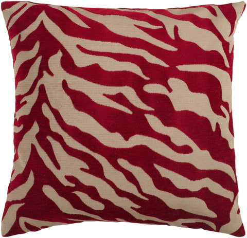 Velvet Zebra Throw Pillow Brown Red