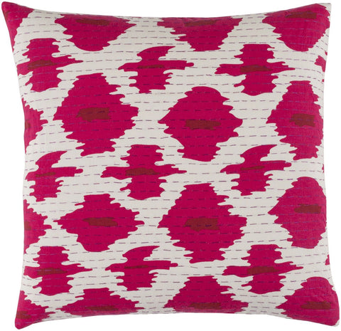 Kantha Throw Pillow Pink Red