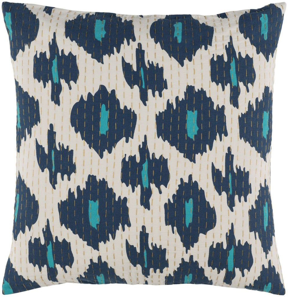 Kantha Throw Pillow Blue