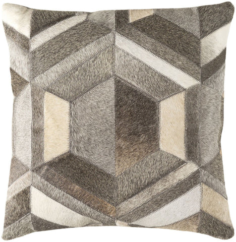 Throw Pillows - Surya LCN002-1818D Lycaon Throw Pillow Gray, Brown | 888473576082 | Only $105.00. Buy today at http://www.contemporaryfurniturewarehouse.com