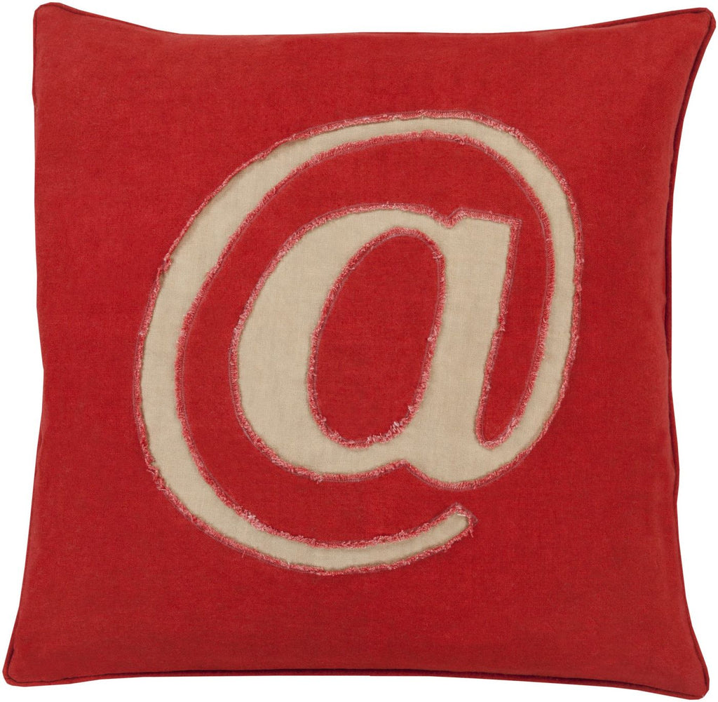 Linen Text Throw Pillow Red Brown
