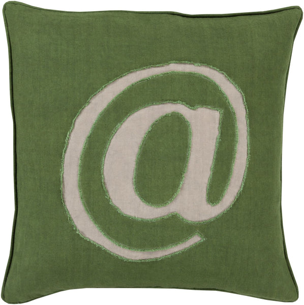Linen Text Throw Pillow Green Gray