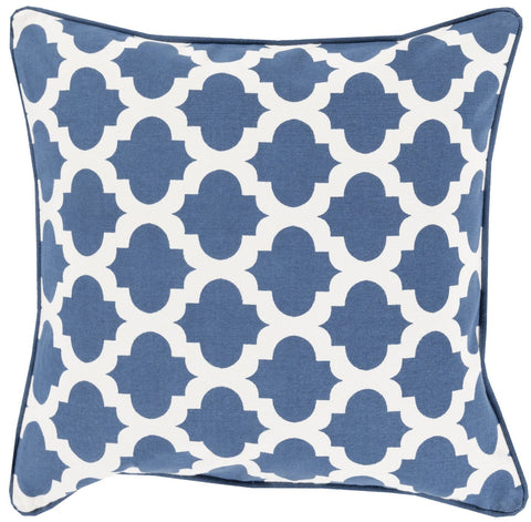 Moroccan Printed Lattice Throw Pillow Blue Neutral