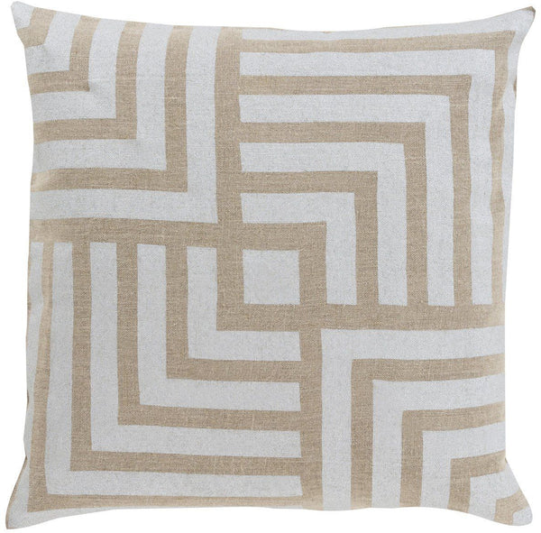 Metallic Stamped Throw Pillow Gray Brown