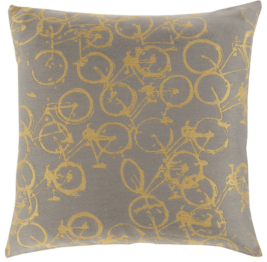 Pedal Power Throw Pillow Yellow Gray