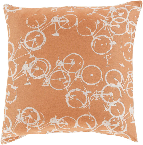 Pedal Power Throw Pillow Orange Neutral
