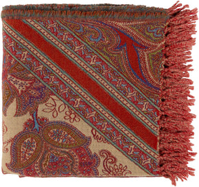 Indira Paisley Woven Throw - Purple Orange