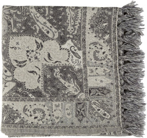 Indira Paisley Woven Throw - Grey
