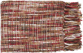 Tabitha Traditional Woven Throw - Neutral Brown Red