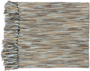 Teegan Traditional Woven Throw - Blue Brown Neutral