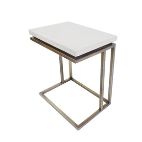 Vig Furniture VGLBTRAY-SF45-05 Modrest Lansing Modern White Concrete & Antique Brass End Table