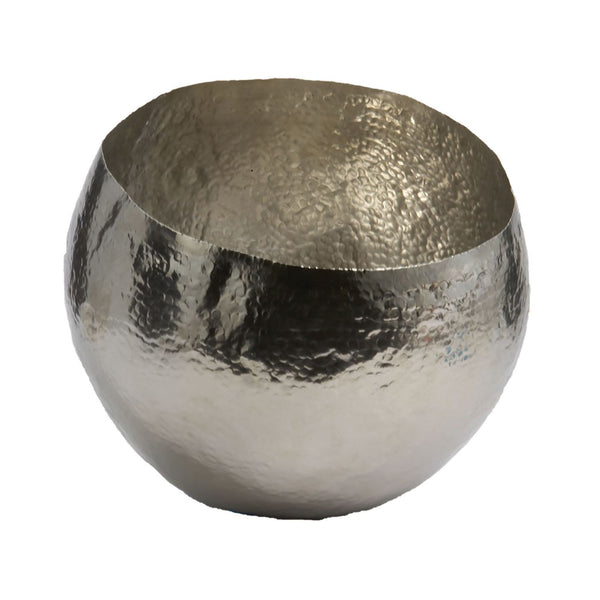 Nickel Plated Hammered Brass Dish - Small Silver Tray