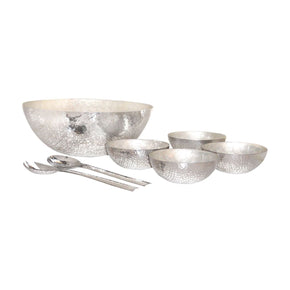 Reef Salad Set Hammered Aluminum,pearl Tray