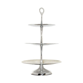 Reef Tiered Triple Server Hammered Aluminum,pearl Tray
