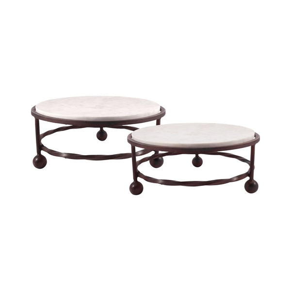 Park Set Of 2 Round Servers Montana Rustic,stone Tray