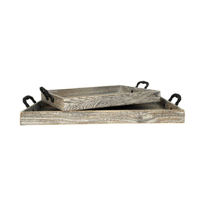 Ashwood Set Of 2 Trays Ashwood,rustic Tray