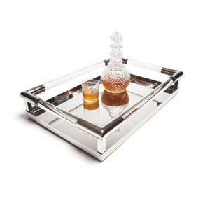Art Deco Tray Stainless Steel And Glass
