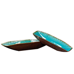 Sea Blue W/ Pewter Bottoms Ceramic Trays Tray