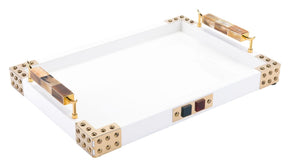 Rectangular Tray With Horn & Agate Handl