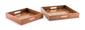 Clover Set Of 2 Trays Brown Tray