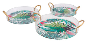 Tropical Set Of 3 Trays Multicolor Tray