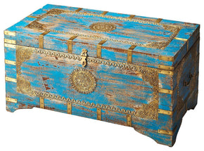 Neela Traditional Rectangular Storage Trunk Blue