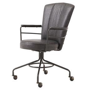 New Pacific Direct 5600012-283 Lionel PU Leather Chair Vintage Ore Gray