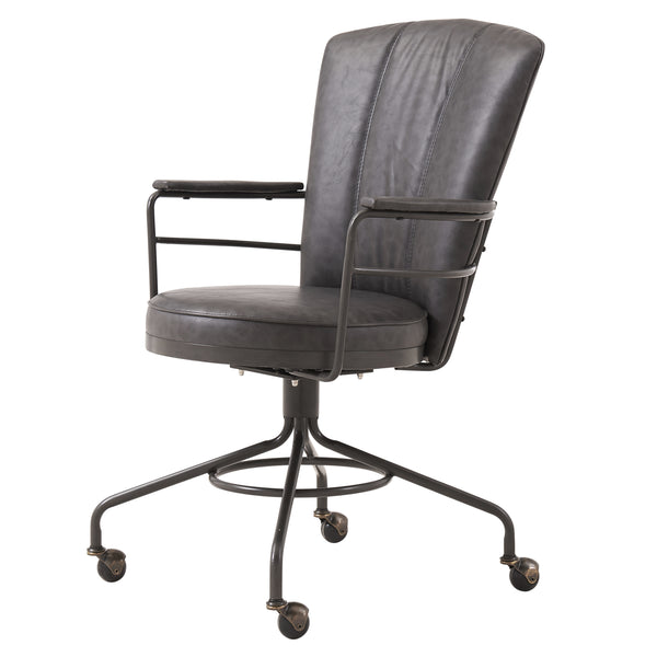 Amazing Lionel Pu Leather Chair Vintage Ore Gray Ncnpc Chair Design For Home Ncnpcorg