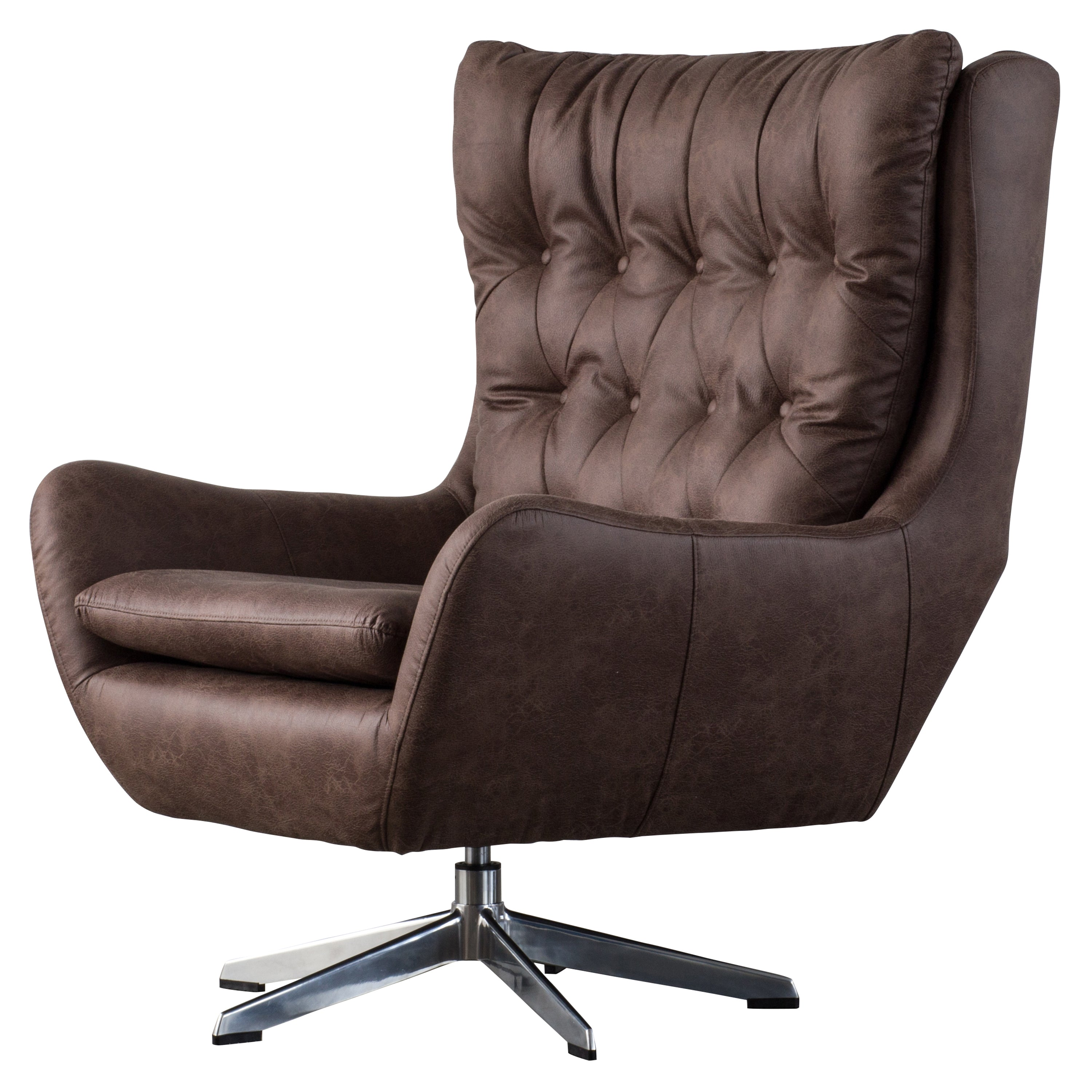 Buy New Pacific Direct 9900016 277 Skylar Pu Leather Swivel Chair Devore Brown At Contemporary Furniture Warehouse