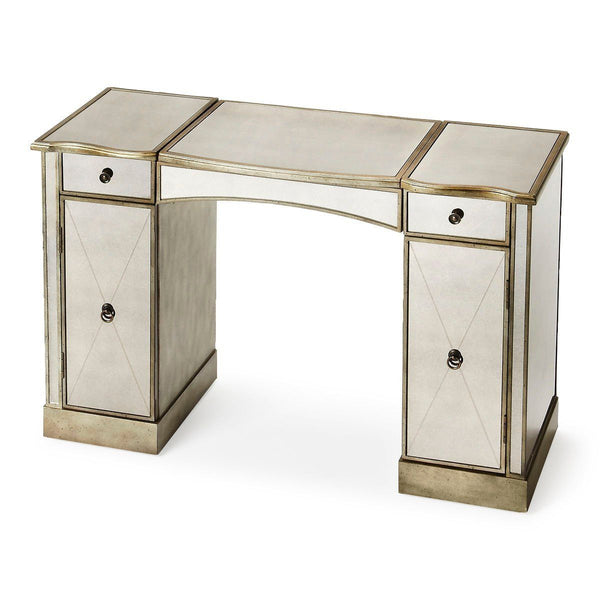 Celeste Traditional Rectangular Vanity Silver Table