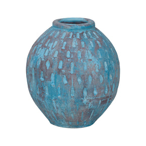 Rustic Blu Base V In Distressed Light Blue With Teardrop Pattern Vase