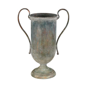 Eared Metal Urn Natured Aged Vase
