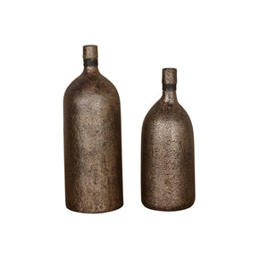 Biren Textured Antiqued Gold Vases Set/2 Vase